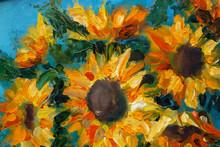 "Постер, картина, фотообои ""Sunflowers oil art imressionism painting floral modern"""
