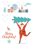 Santa Claus carry big Christmas tree.  Greeting card. Merry Christmas and Happy New Year , flat vector illustration - 234234515