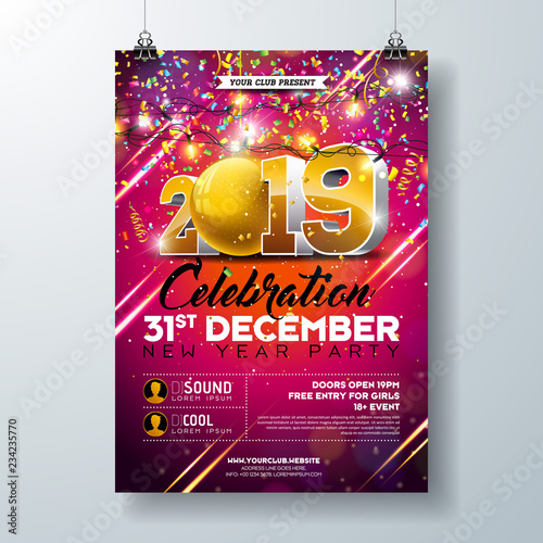 new year party celebration poster template illustration with 3d 2019 number and falling colorful confetti on
