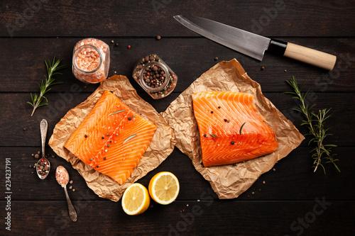 Leinwandbild Motiv Salmon fish fillet