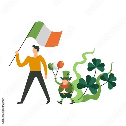 : Saint Patrick day parade, man and leprechaun gnome marching ho