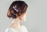 Bridal hairdo. Updo hair with hairdeco