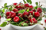 Fresh cherries in a bowl, summer fruit, healthy food and clean eating concept.
