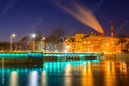 Bridge over Odra river in Wroclaw at night, Poland