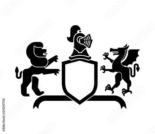 Heraldic Shield Lion And Dragon Knight Helmet Fantastic Beasts Template Heraldry Design Element
