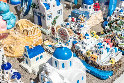 Greek souvenirs from Santorini island in the Aegean Sea. Greece.