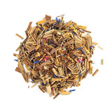 Herbal Tea Pile On A White Background. Composition Mint, Lemongrass, cornflower, Sweet Wood Root, Rose Petals. Top view - 234251347