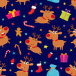Seamless pattern with cute cartoon reindeers, vector illustration on blue background. - 234254399