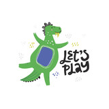 Cute dinosaur color hand drawn vector character © faveteart