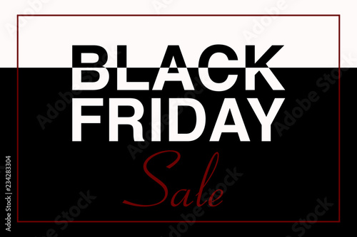 Illustrazione testo BLACK FRIDAY SALE, nero e bianco, vettoriale evento