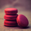 Strawberry macarons close-up photo