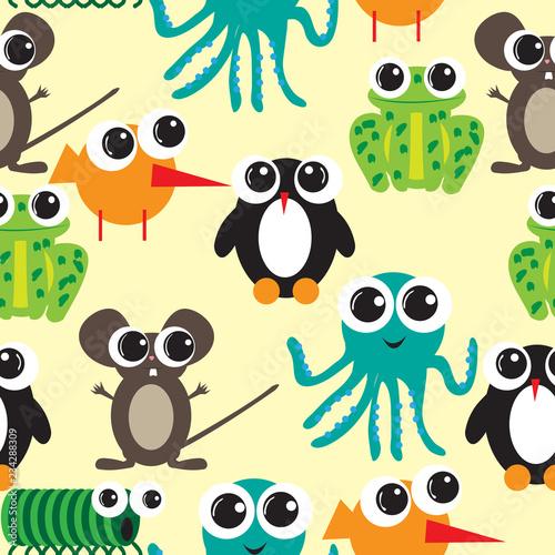 fototapeta na ścianę Seamless pattern with big eyes cartoon