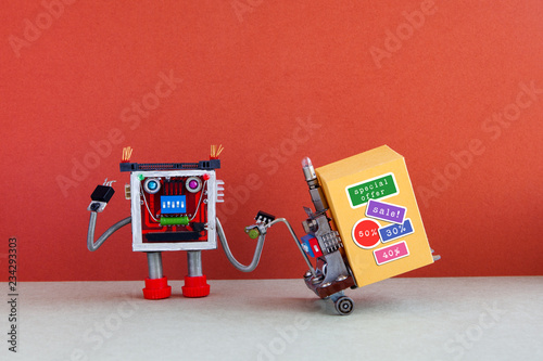 Funny robot moving shopping cart big yellow box with discount advertising stickers. Special sale promotion poster. Red gray background, copy space