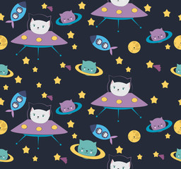 Fun cat astronaut in space seamless pattern. Vector cartoon charters. Editable vector illustration. © miobuono