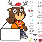 singboard deer kid cartoon xmas collection set in vector format