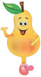 Cartoon funny Illustrations pear. Funny fruit drawing in cartoon style. Smiley pear  character - 234299983