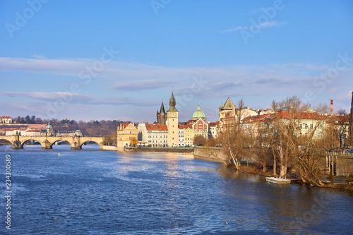 Prague, Czech Republic Beautiful view of the Dvorak embankment, the Vltava river and the old town of Prague. Panorama of the center of Prague, Czech Republic.