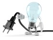 Light bulb character holding electric cable