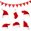 Collage with different shapes of Santa Claus hat, trianlges and stocking isolated on white background