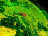 Austria from space on model of digital planet Earth with network. Concept of digital technology, connectivity and travel. - 234314951