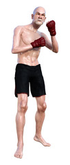 3D Rendering Senior Man Boxing on White © photosvac