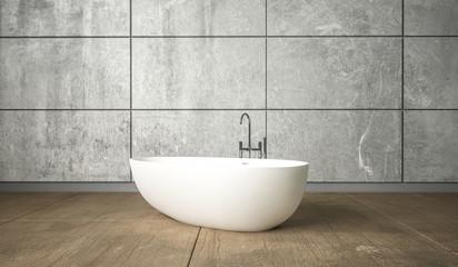 Ceramic white bath in minimalism design