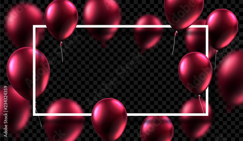 Festive background with white frame and vinous shiny balloons.