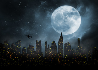 city lights in night