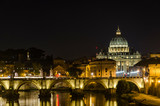 Night view at Saint Peter cathedral in Vatican