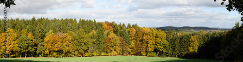autumn landscape with lake and trees - 234335924