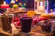 Leinwanddruck Bild - Mulled wine , Christmas festive warming drink