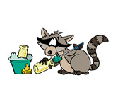 Illustration of a raccoon washing a milk bottle © @antoonsparis