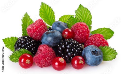 Leinwanddruck Bild Fresh berries on white background
