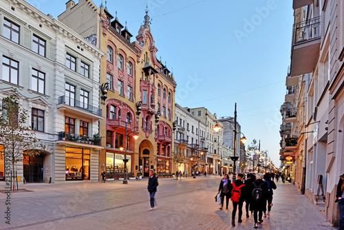 Fototapeta Łódź, Poland - Piotrkowska street.