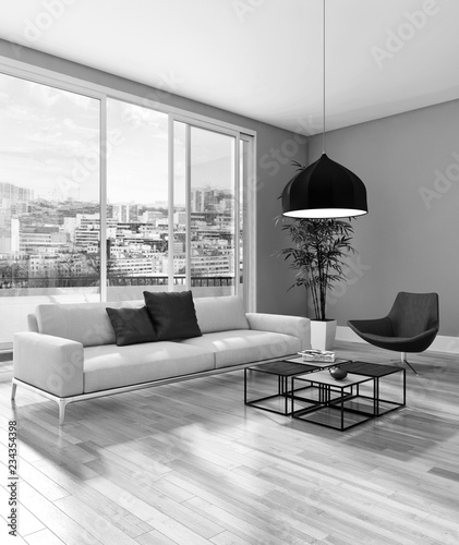Black and white large luxury modern bright interiors Living room illustration 3D rendering computer digitally generated image