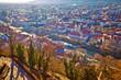 Leinwandbild Motiv Graz city center and Mur river aerial view