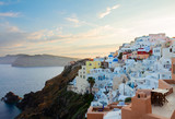 townscape of Oia, volcano caldera and Aegan sea, beautiful details of Santorini island at sunset, Greece - 234357734