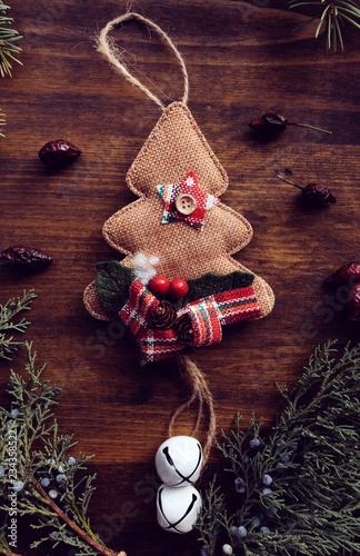 Foto Murales Christmas tree burlap decoration
