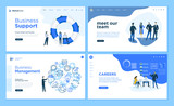 Set of flat design web page templates of business support, management, our team, career. Modern vector illustration concepts for website and mobile website development.  - 234358906