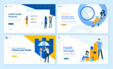Set of flat design web page templates of family savings, budget planning, life insurance, time management. Modern vector illustration concepts for website and mobile website development.  - 234359178