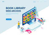 Modern flat design isometric concept of Book Library decorated people character for website and mobile website development. Isometric landing page template. Vector illustration. - 234359783