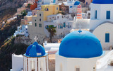 details of Oia church and houses, traditional greek village of Santorini, Greece - 234362781
