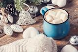 Blue mug of coffee with marshmallow - 234363552