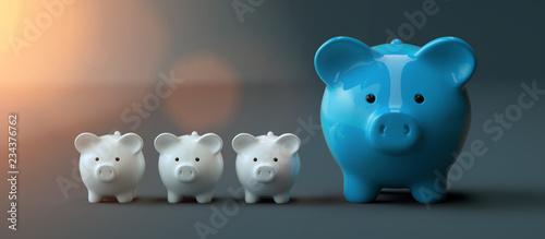 Leinwanddruck Bild Piggy Bank save money investment