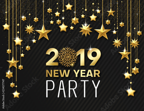 new year 2019 party shiny poster or invitation card with golden stars