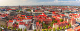 Scenic aerial panoramic view of Old Town skyline and lot of red roofs, Copenhagen, capital of Denmark - 234383985