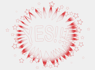 Cartoon Yes In Red Outline