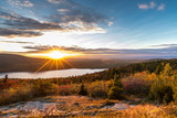 Sunset sun star in Acadia National Park © Skyler