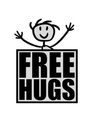 comic cartoon clipart gemalt free hugs kostenlose umarmungen lustig liebe herzlich begrüßen gut sozial spruch kuscheln balken design logo text