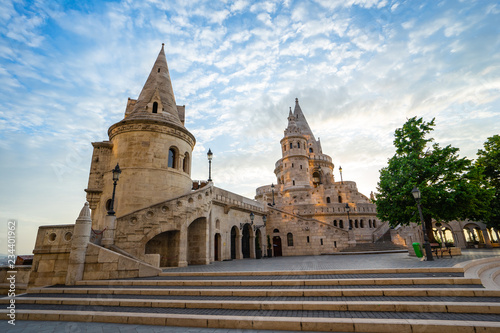 Fisherman's Bastion with sunrise in Budapest, Hungary.